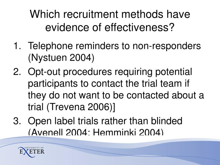 Which recruitment methods have evidence of effectiveness?