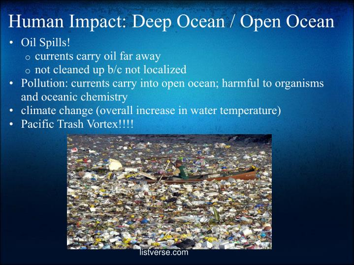 human impact on oceans Human impact on oceans choose one of the following topics to research and write you discussion post on: ozone depletion greenhouse effect el nino and la nina.