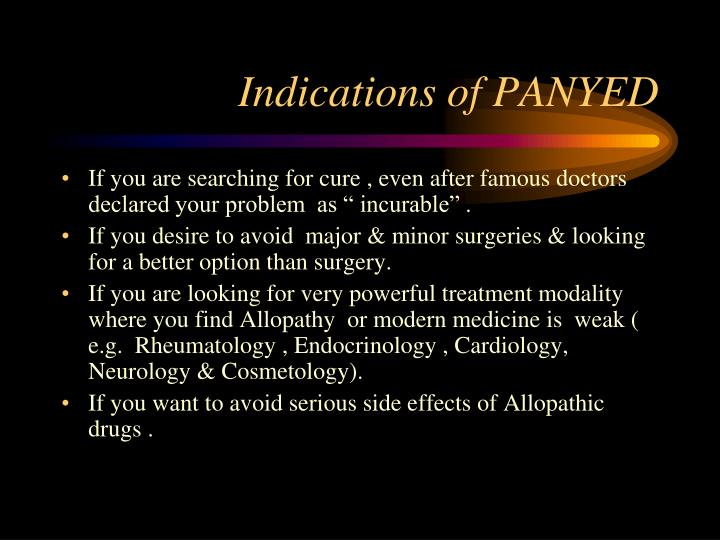 Indications of PANYED