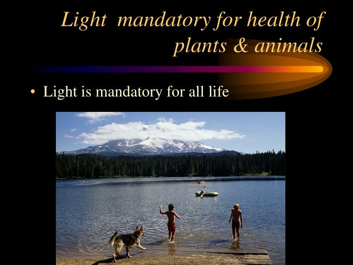 Light  mandatory for health of plants & animals