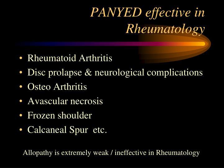 PANYED effective in   Rheumatology