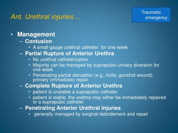 Ant. Urethral injuries…