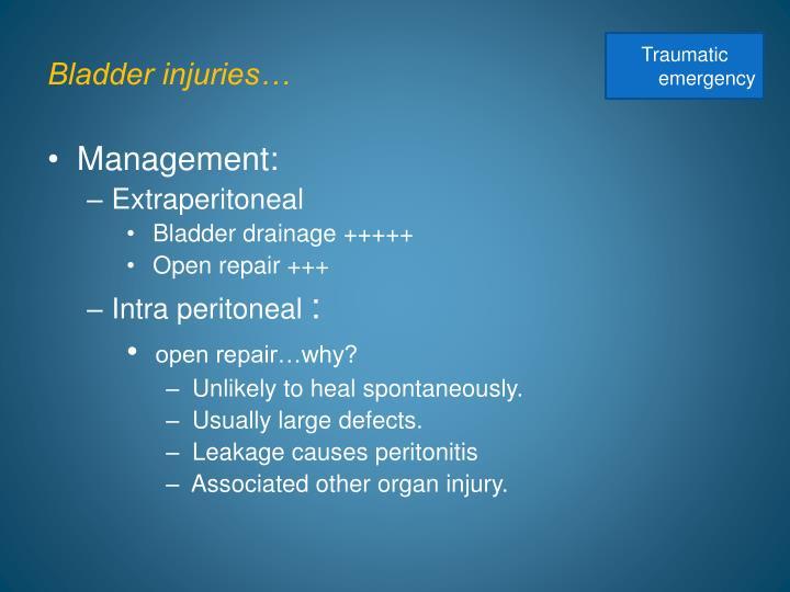 Bladder injuries…