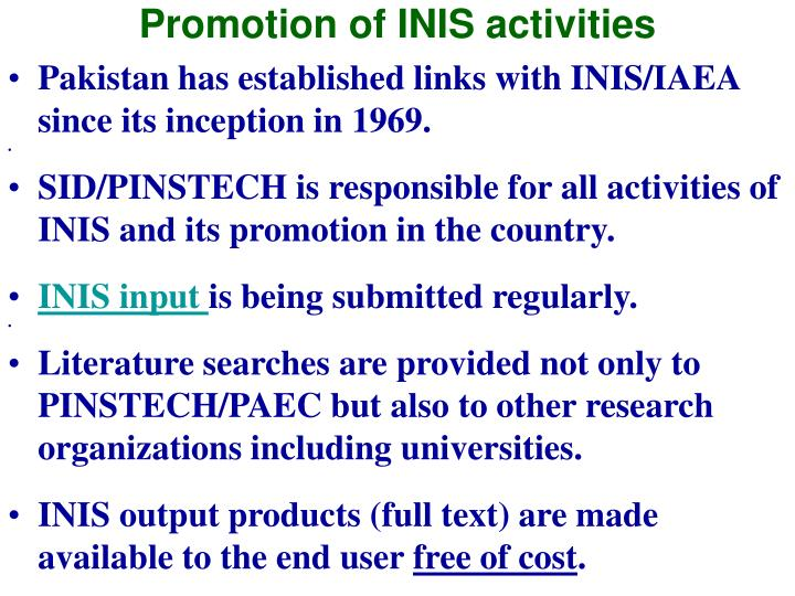 Promotion of INIS activities