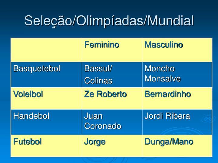 Seleção/Olimpíadas/Mundial