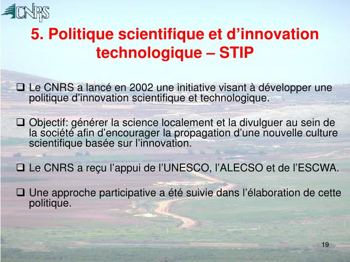 5. Politique scientifique et d'innovation technologique – STIP