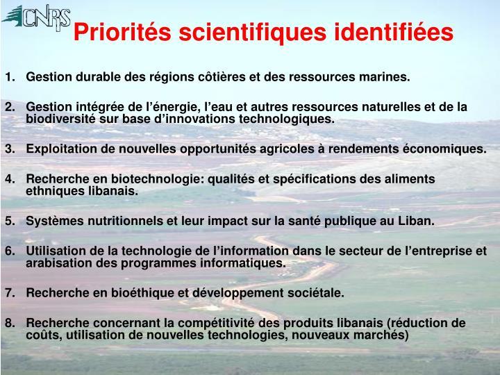 Priorités scientifiques identifiées