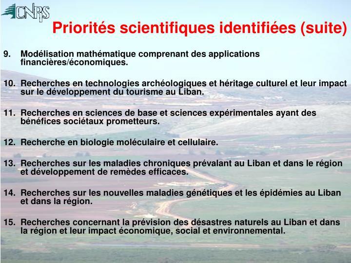 Priorités scientifiques identifiées (suite)