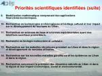 priorit s scientifiques identifi es suite