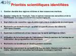 priorit s scientifiques identifi es