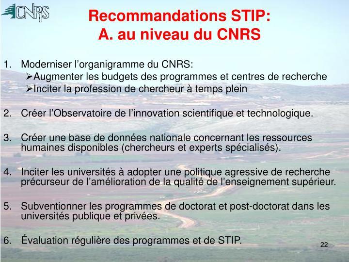 Recommandations STIP: