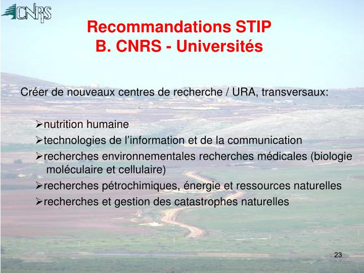 Recommandations STIP