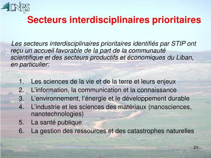 Secteurs interdisciplinaires prioritaires