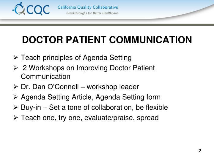 DOCTOR PATIENT COMMUNICATION