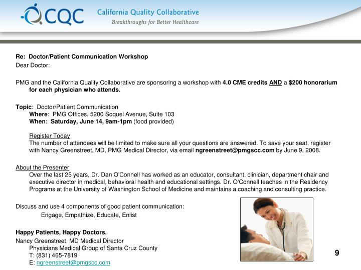 Re:  Doctor/Patient Communication Workshop
