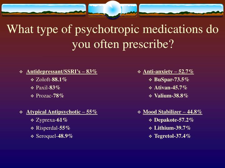 What type of psychotropic medications do you often prescribe?