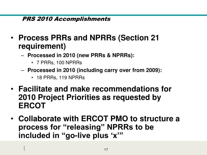 Process PRRs and NPRRs (Section 21 requirement)