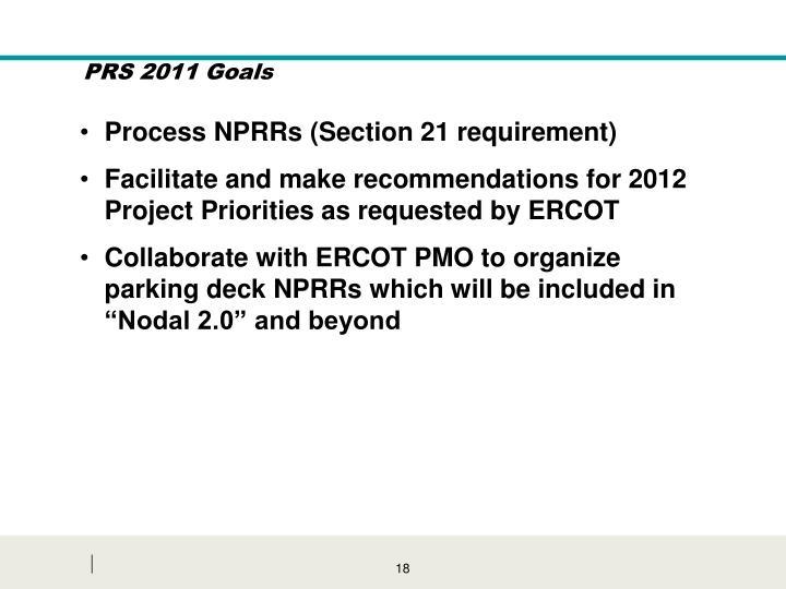 PRS 2011 Goals
