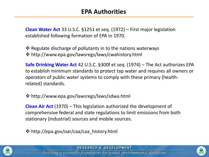 EPA Authorities