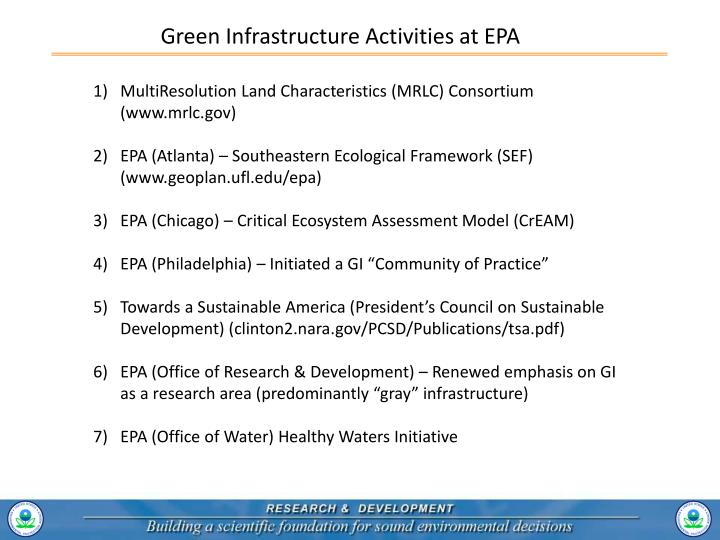 Green Infrastructure Activities at EPA