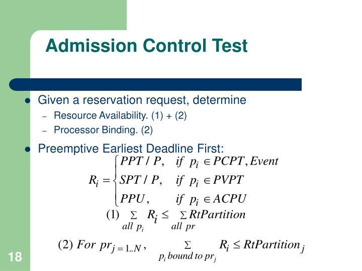 Admission Control Test