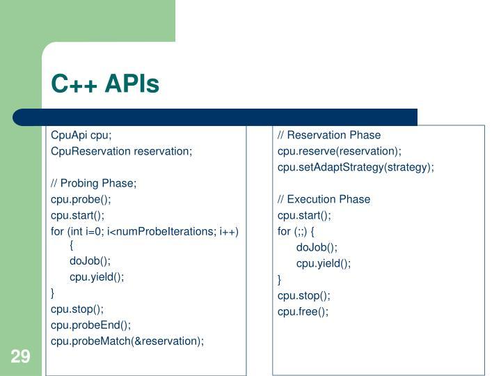 C++ APIs
