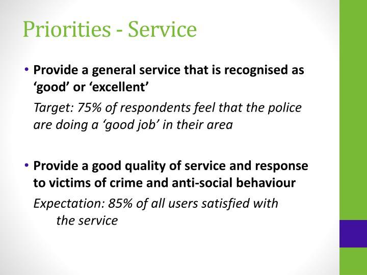 Priorities - Service