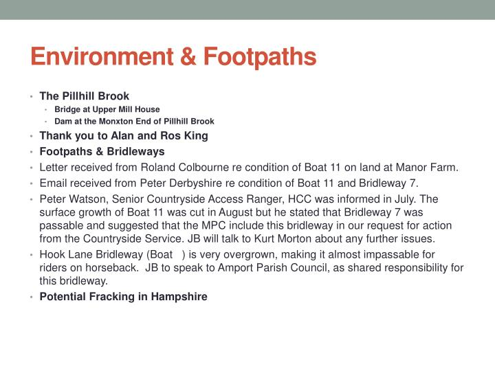 Environment & Footpaths
