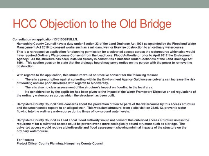 HCC Objection to the Old Bridge