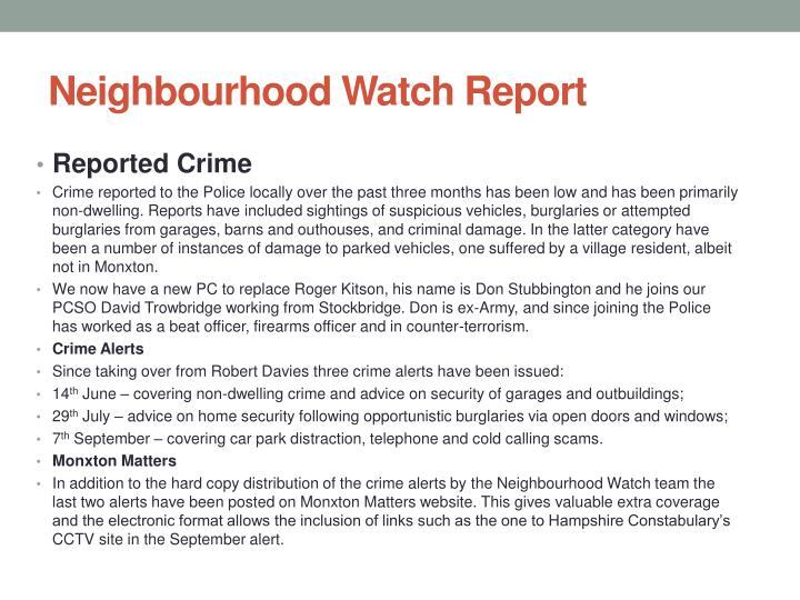Neighbourhood Watch Report