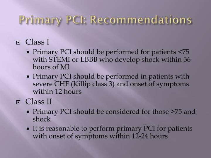 Primary PCI: Recommendations