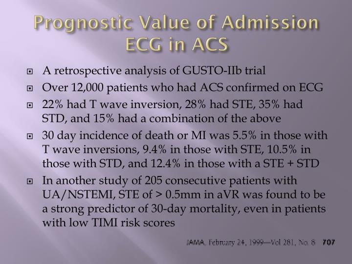 Prognostic Value of Admission ECG in ACS