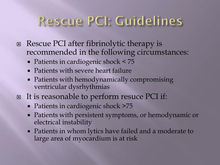 Rescue PCI: Guidelines
