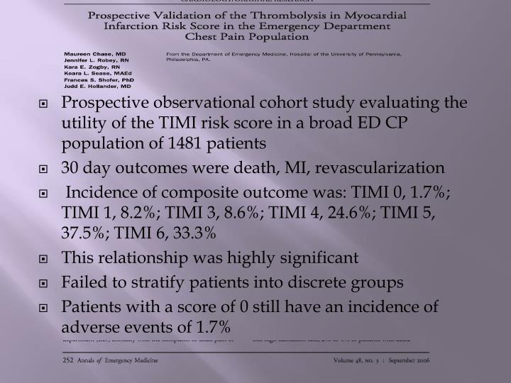 Prospective observational cohort study evaluating the utility of the TIMI risk score in a broad ED CP population of 1481 patients