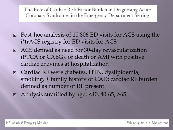 Post-hoc analysis of 10,806 ED visits for ACS using the i*trACS registry for ED visits for ACS