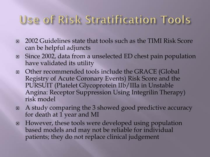 Use of Risk Stratification Tools