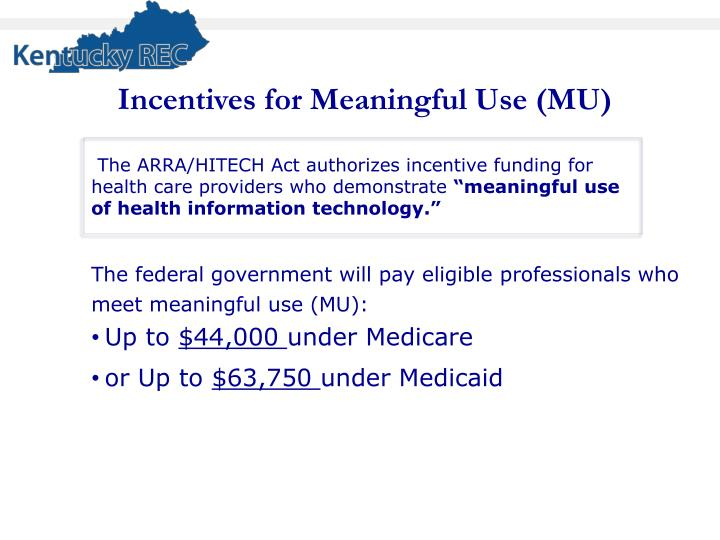Incentives for Meaningful Use (MU)