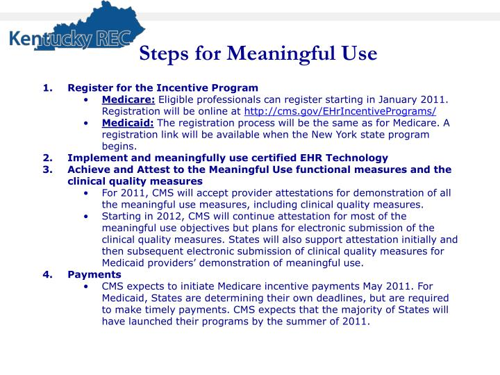 Steps for Meaningful Use