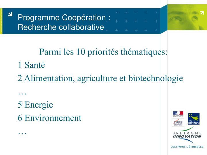 Programme Coopération :