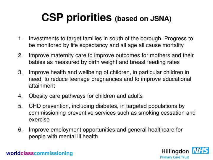 CSP priorities