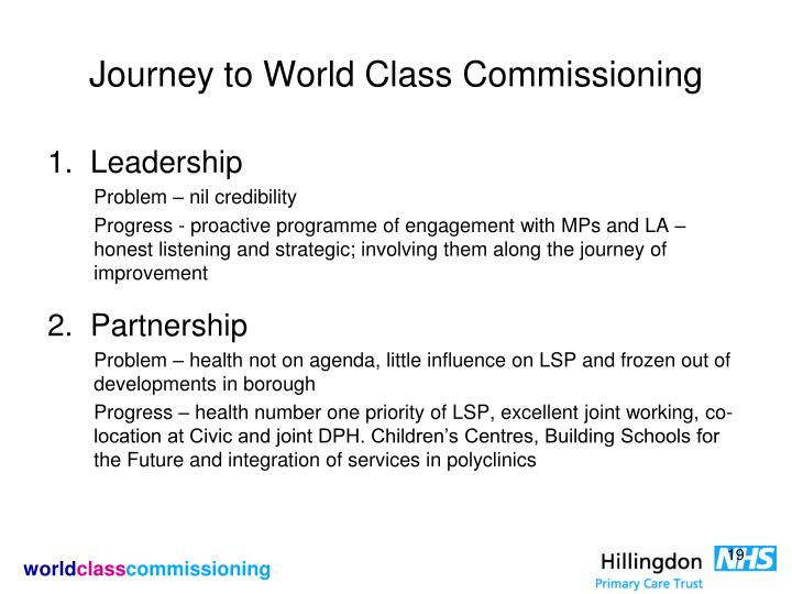 Journey to World Class Commissioning