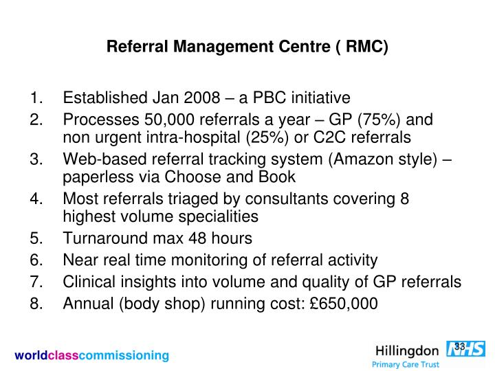 Referral Management Centre ( RMC)