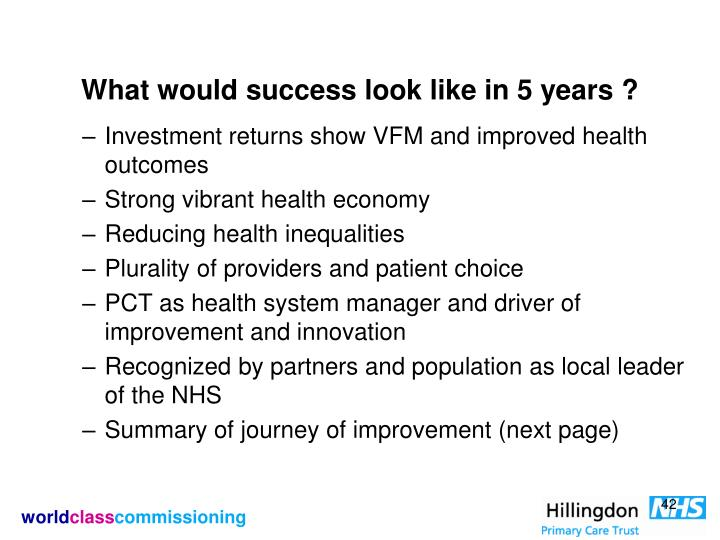 What would success look like in 5 years ?