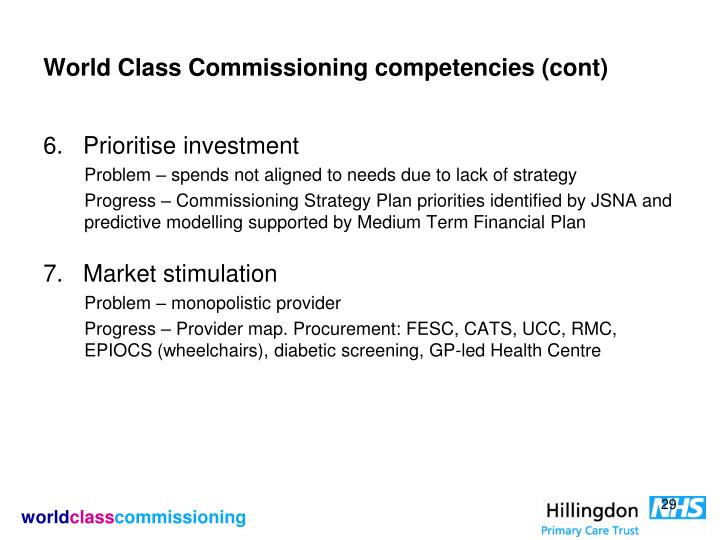 World Class Commissioning competencies (cont)