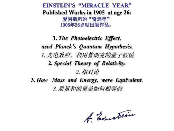 "EINSTEIN'S  ""MIRACLE  YEAR"""