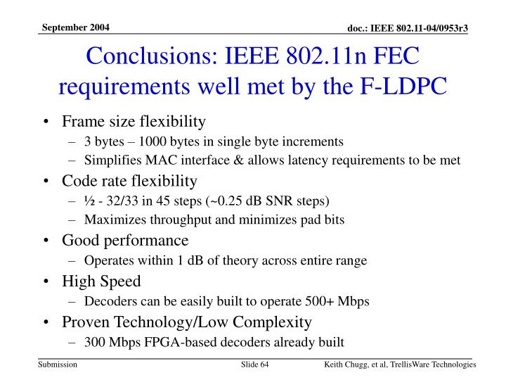 Conclusions: IEEE 802.11n FEC requirements well met by the F-LDPC