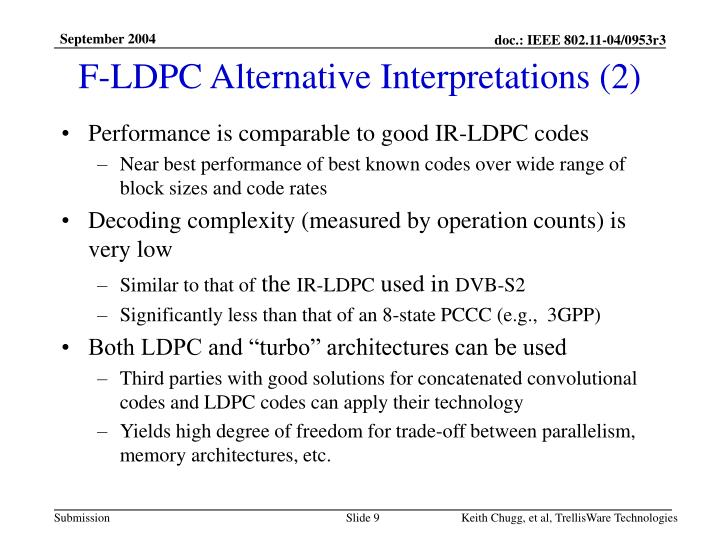 F-LDPC Alternative Interpretations (2)