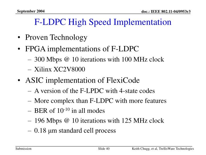 F-LDPC High Speed Implementation