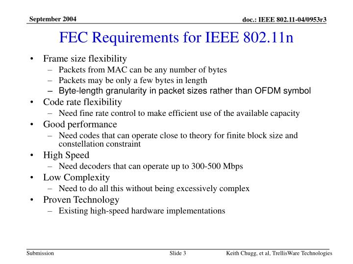 FEC Requirements for IEEE 802.11n