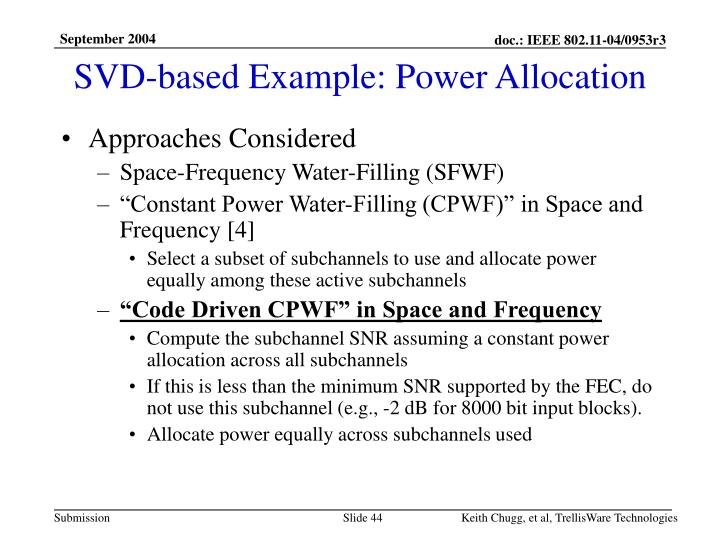 SVD-based Example: Power Allocation